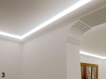[Paket] 30 Meter LED Profil, PU Stuckleiste indirekte Beleuchtung stoßfest 80x70, LED-1