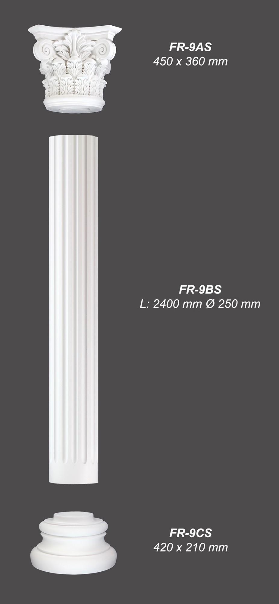 2 4 meter pu s ule rund kanneliert k rper stuck dekor sto fest 250mm fr 9bs wand s ulen. Black Bedroom Furniture Sets. Home Design Ideas