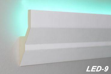 [Sparpaket] 40 Meter PU Stuckprofil Stuckleiste Lichtleiste LED Stuck stoßfest 100x40, LED-9