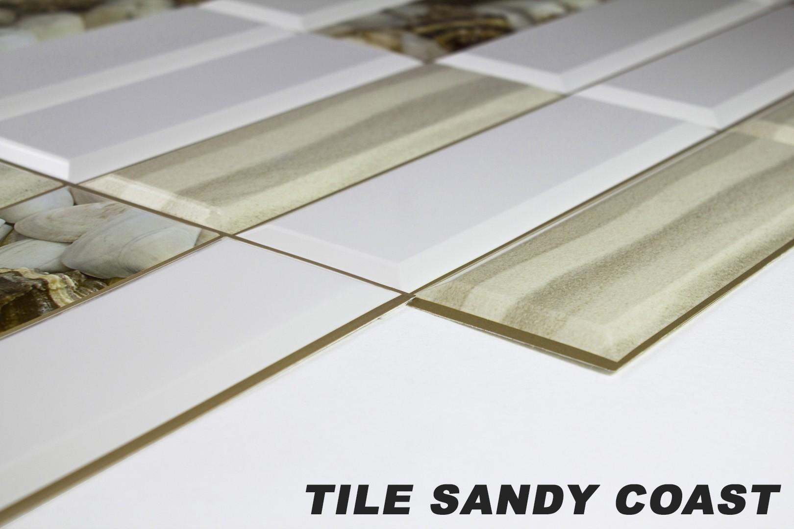 1 pvc dekorplatte mosaic wandverkleidung platten 95x48cm tile sandy coast wand dekorplatten. Black Bedroom Furniture Sets. Home Design Ideas