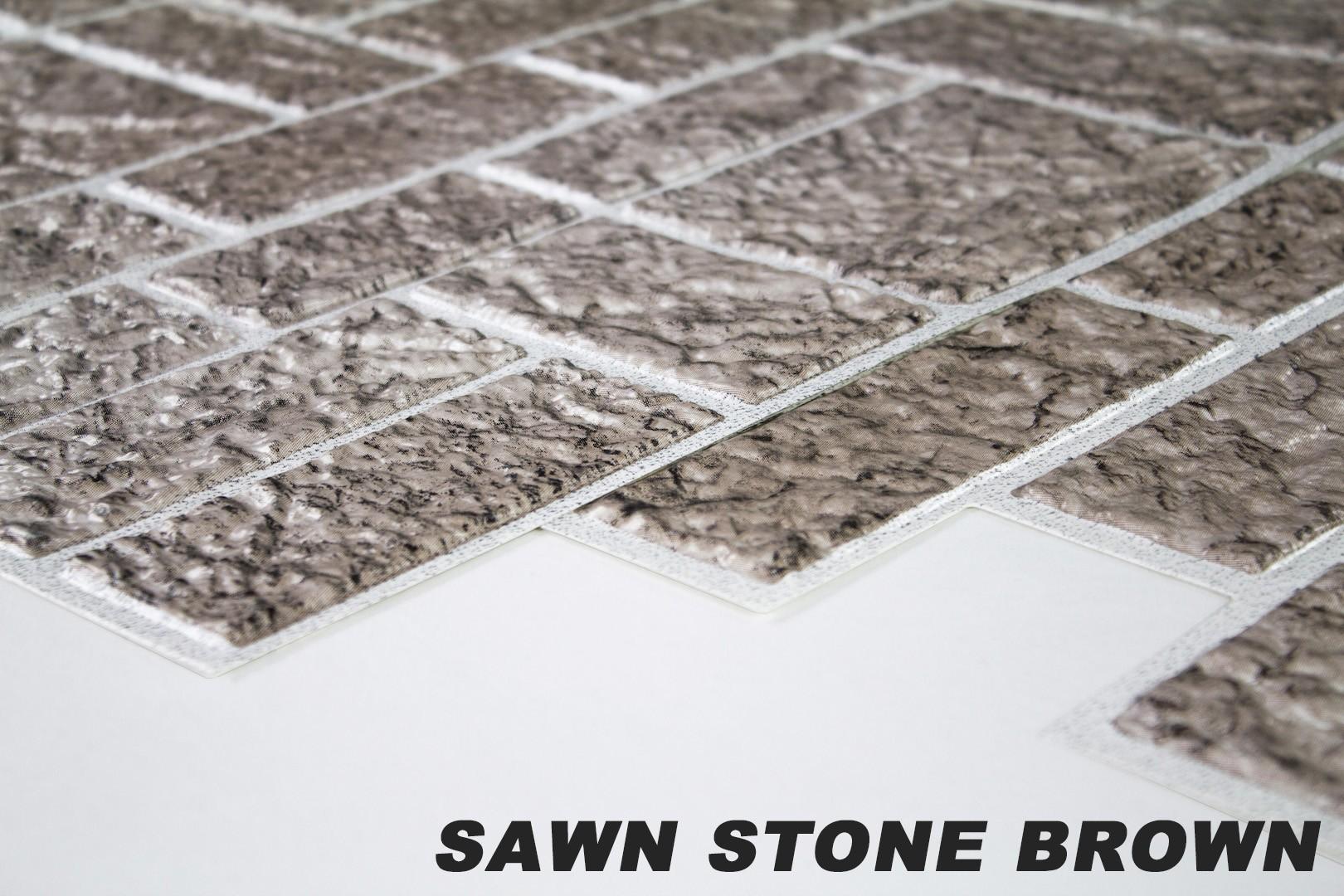 1 pvc dekorplatte mosaic wandverkleidung platten wand 95x48cm sawn stone brown wand dekorsteine pvc. Black Bedroom Furniture Sets. Home Design Ideas