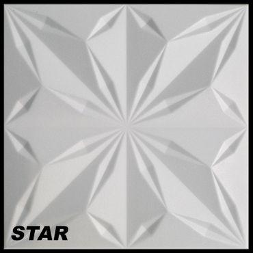 1 m² Platten 3D Polystyrol Wand Decke Paneele Wandplatten 50x50cm, STAR