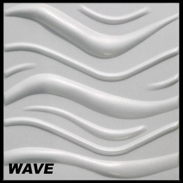 [Paket] 50 m² Platten 3D Polystyrol Wand Decke Paneele Wandplatten 50x50cm, WAVE