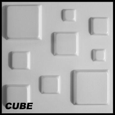 [Paket] 50 m² Platten 3D Polystyrol Wand Decke Paneele Wandplatten 50x50cm, CUBE