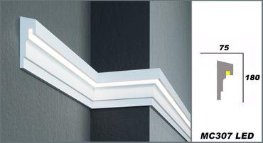 2 Meter LED Fassadenprofil indirekte Beleuchtung stoßfest 180x75mm, MC307 LED