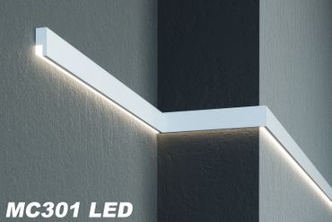 [Sparpaket] 20 Meter LED Fassadenleisten indirekte Beleuchtung stoßfest 65x30mm, MC301 LED