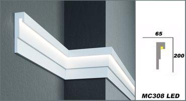 2 Meter LED Stuckprofil Dekoration Hausfassade stoßfest 200x65mm, MC308 LED