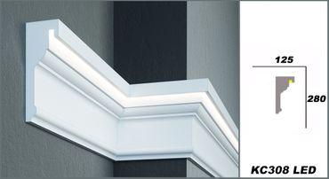 2 Meter LED Gesimsprofil Indirekte Beleuchtung stoßfest 280x125mm, KC308 LED
