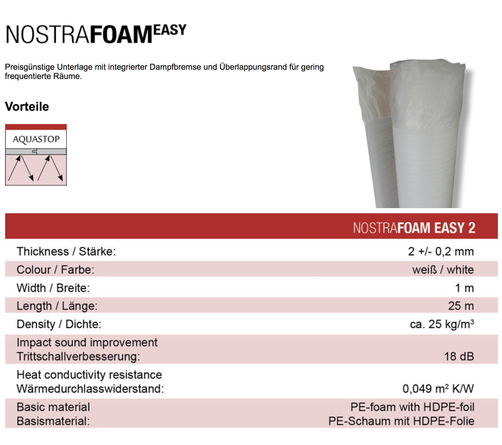 25 M Trittschalldammung Dampfsperre Laminat Parkett Boden Nostrafoam 2mm
