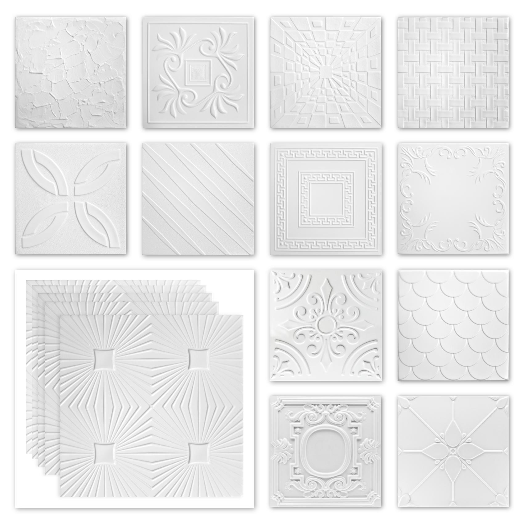 Deckenplatten Styropor XPS - weiß viele Motive 50x50cm - Sparpaket Nr.01 bis Nr.69