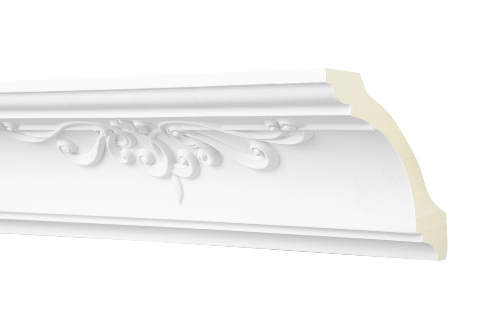 2 Meter Zierprofil 90x90mm - Stuckleiste aus PU gemustert, stoßfest - Perfect AA326
