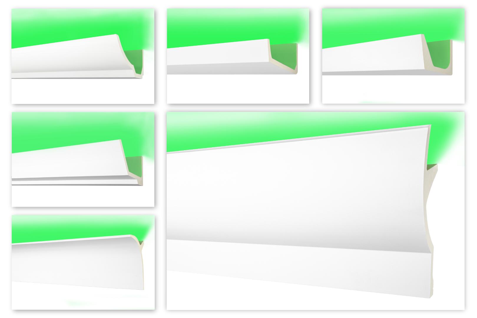 2 Meter LED Zierleiste, Stuckleiste aus PU glatt, stoßfest - Perfect AB - alle Modelle
