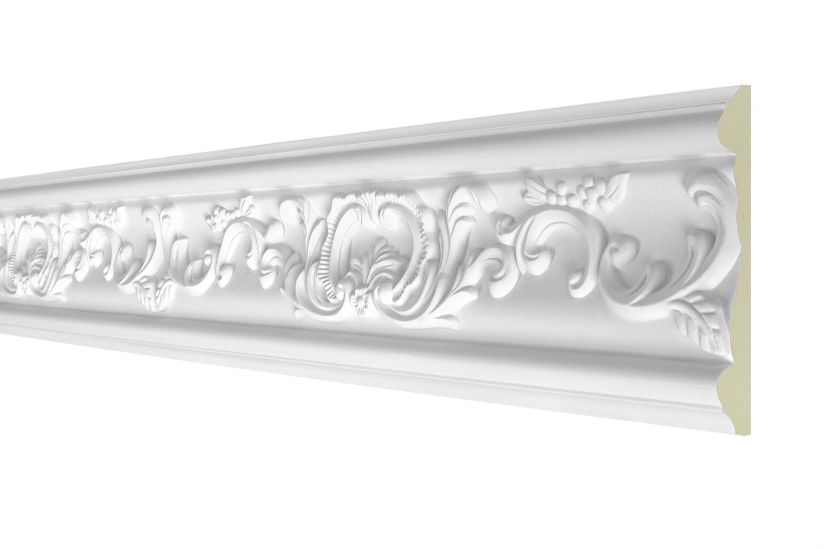 2 Meter Flachprofil - Stuckleiste aus PU gemustert, stoßfest - Perfect AC Serie 1