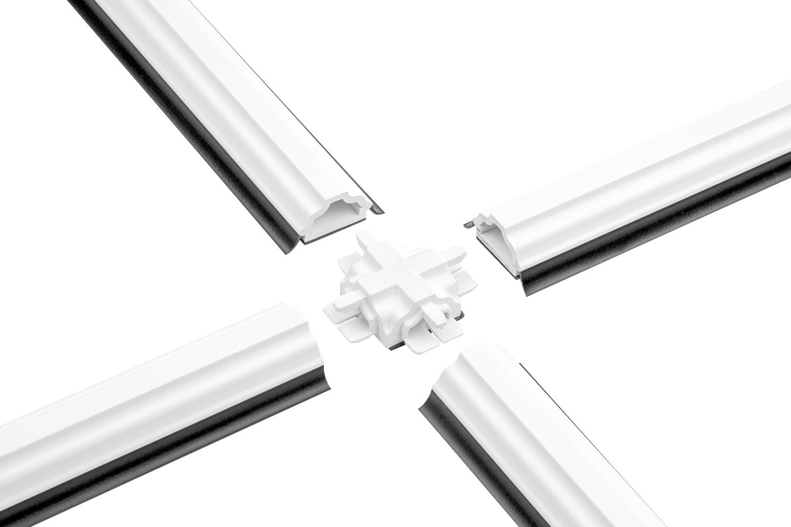 Glassprossen & Kreuzverbinder PVC weiß, Weichlippe grau & schwarz, selbstklebend - HJ GL2313 & KR23
