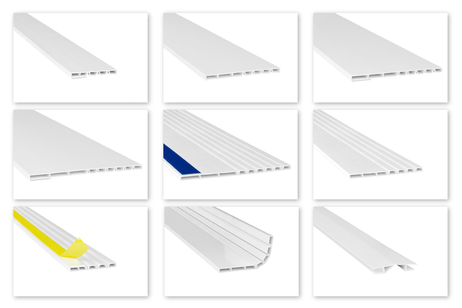 Hohlkammerleisten flexibel PVC weiß 2m - Auswahl Deckleisten & Verbindungen - HJ