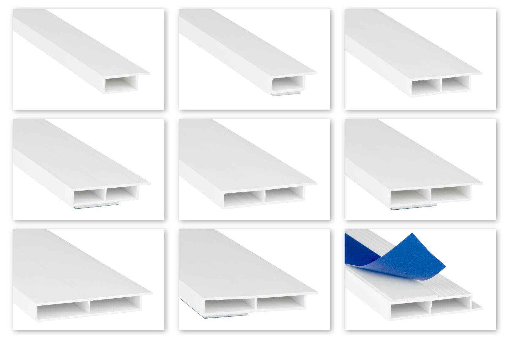 Hohlkammerleisten PVC weiß 2m - Kantenhöhe 7mm, Auswahl Fahne & Klebeband - HJ