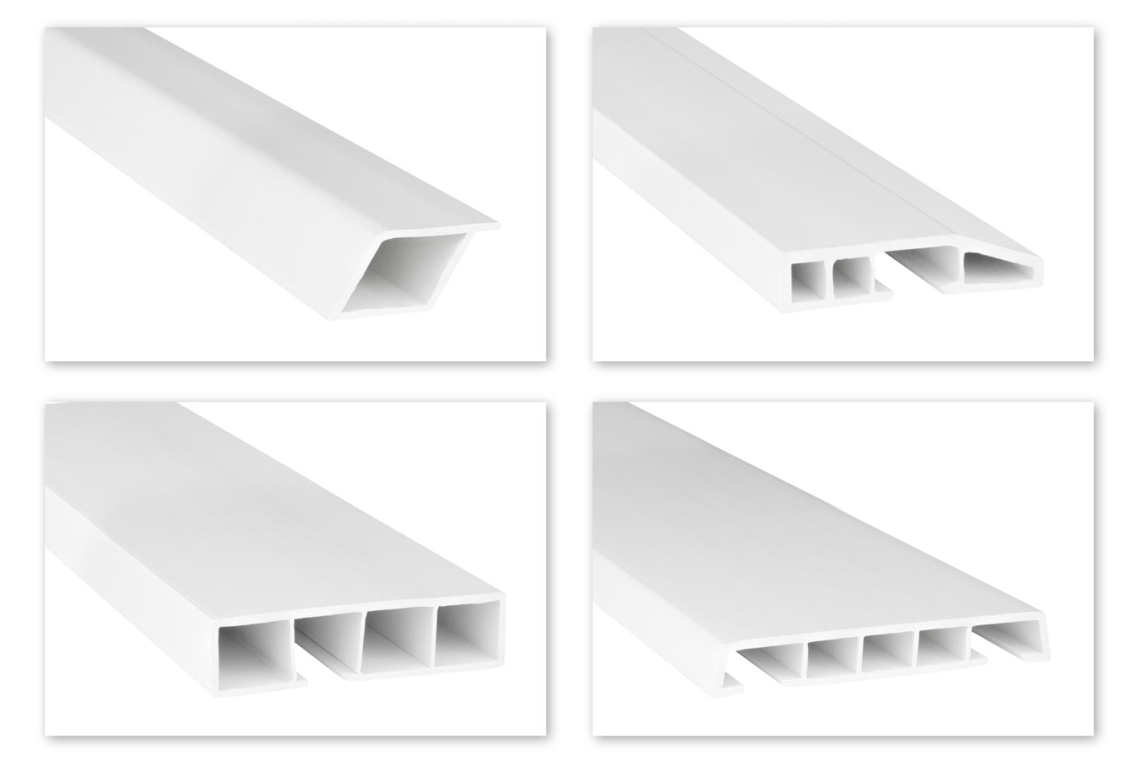 Hohlkammerleisten PVC weiß 2m - Sonderprofile, abgeschrägt & zum klipsen - HJ