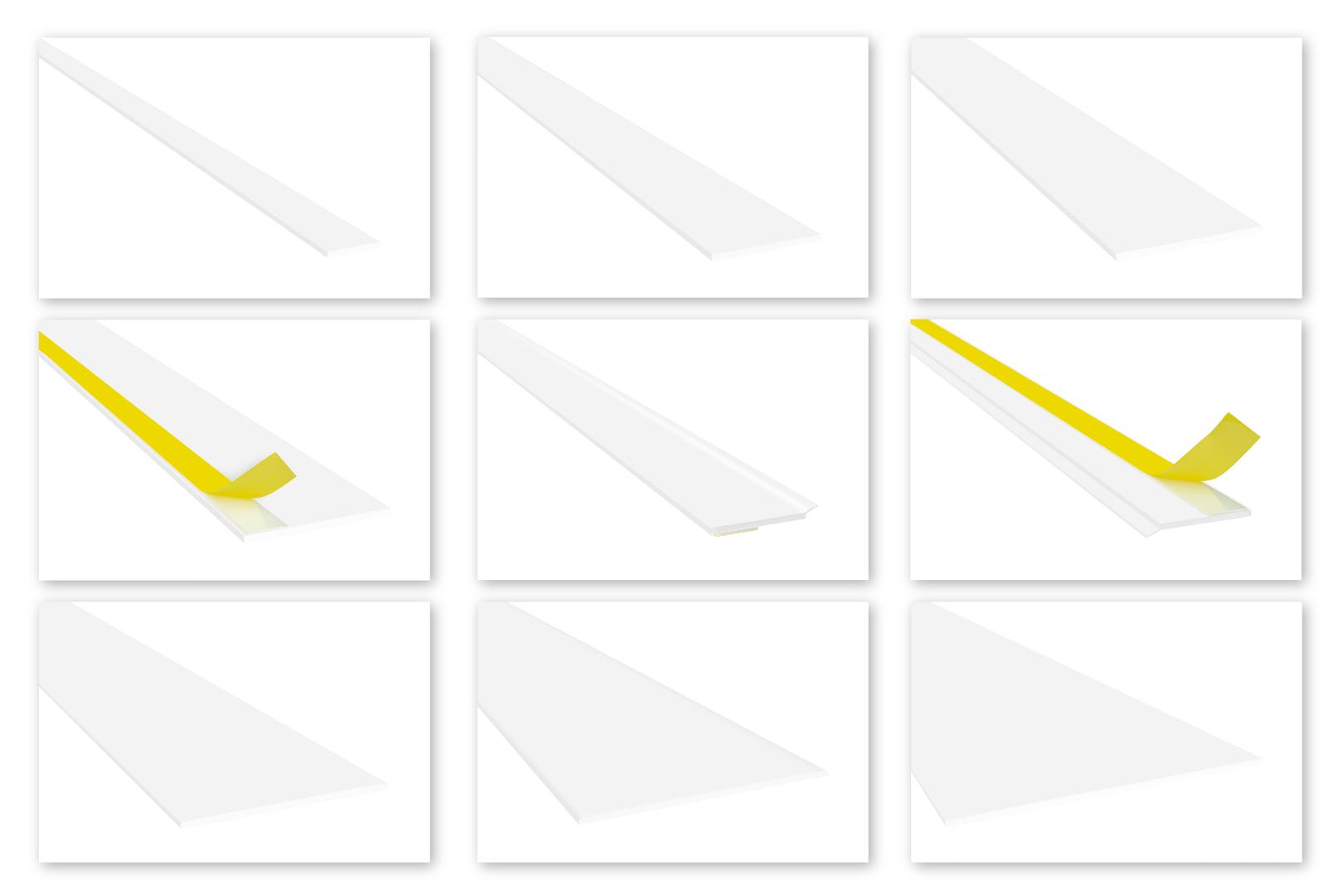 Flachleisten PVC weiß 2m - Standard 3mm, Auswahl Weichlippe & selbstklebend - HJ