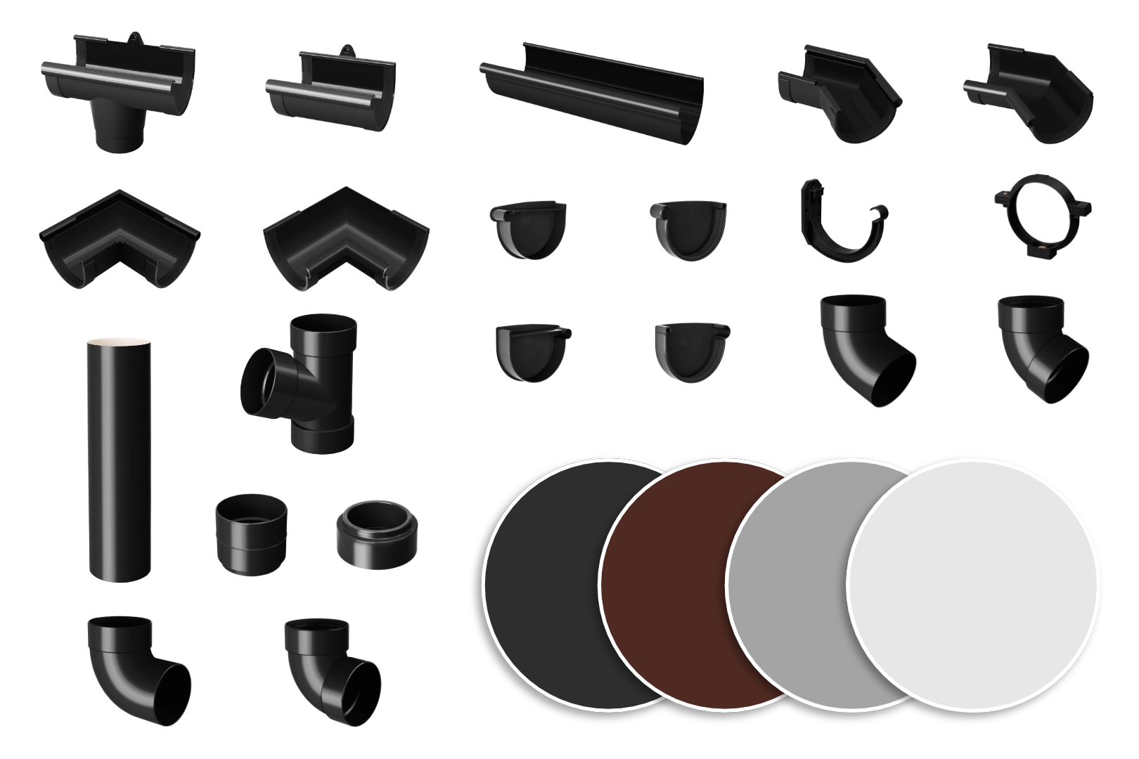 Regenrinnen Komponenten | Dachflächen < 100m² | PVC in 4 Farben | RainWay S