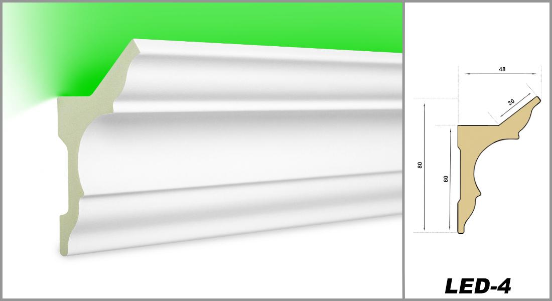PU Stuckleiste indirekte Beleuchtung sto/ßfest 58x48mm LED-3 2 Meter LED Profil