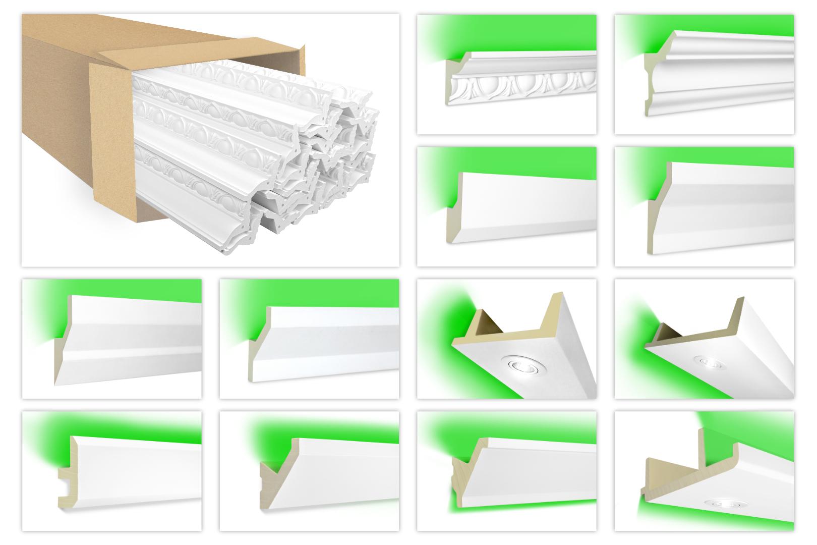 Sparpakete LED-1 bis LED-20 Profil aus PU - indirekte Beleuchtung, lichtundurchlässig