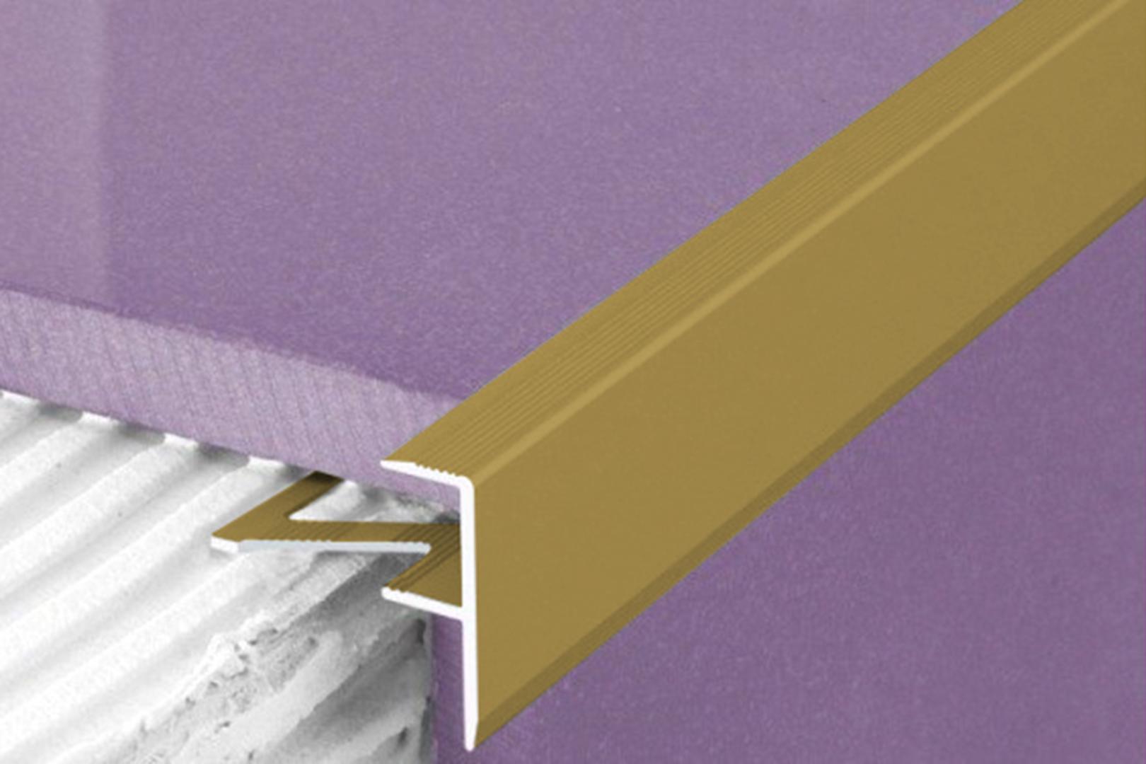 1 Meter   Fliesenleiste Alu eloxiert F-Form   Effector   23x8mm   A85