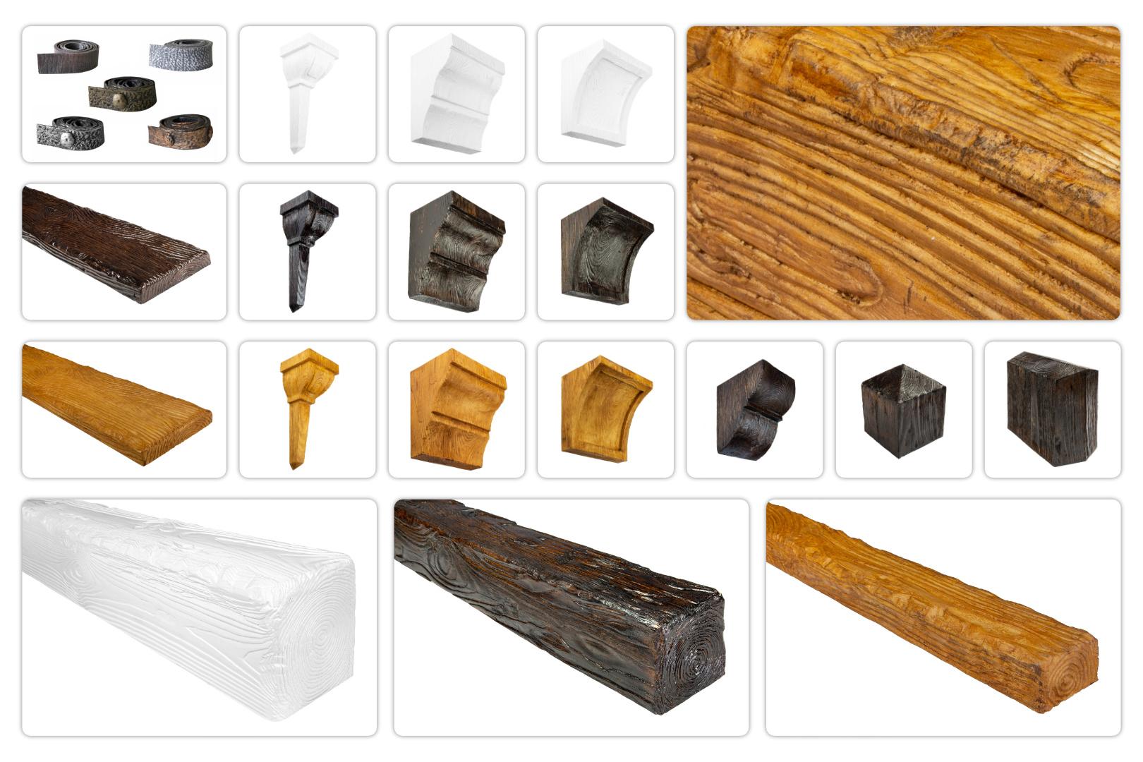 Balken und Zubehör Rustikal für Decke & Wand - Holzimitat Verkleidung, Deco Wood