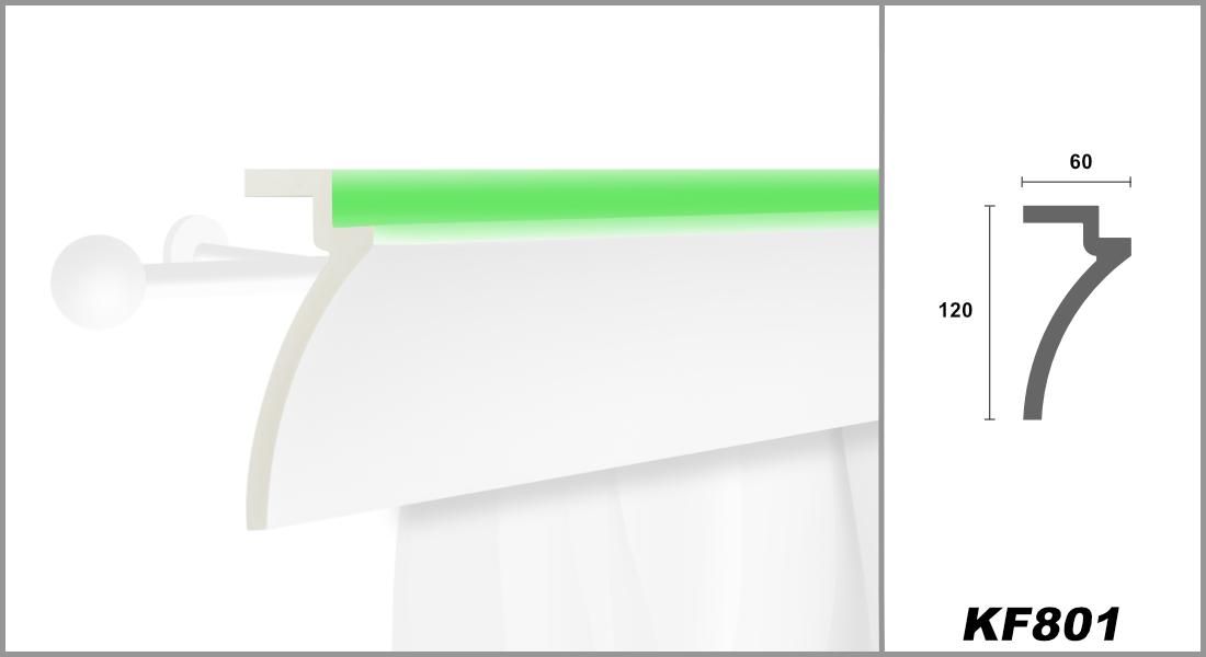 LED Gardinenblenden aus PU - lichtundurchlässig, leicht und schlagzäh - Tesori Gardinen Stuckleisten