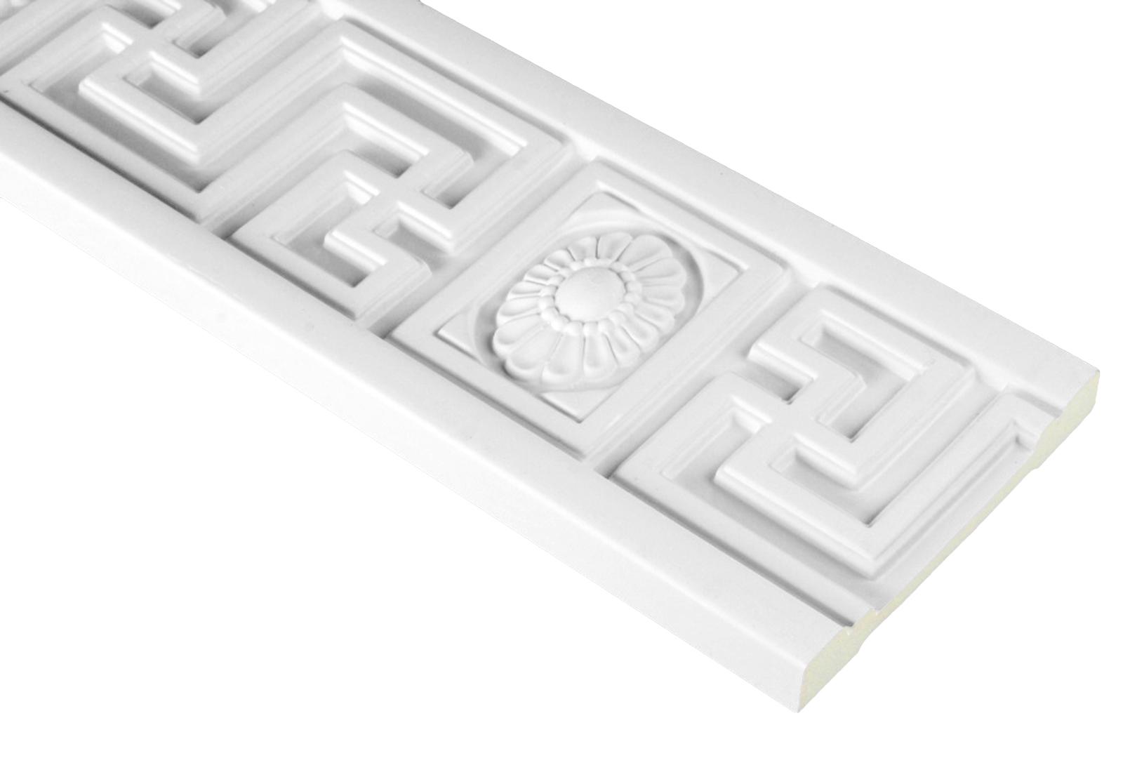 2 Meter | PU Flachleiste Profil Innen Dekor stoßfest | Hexim | 110x20mm | FH9416