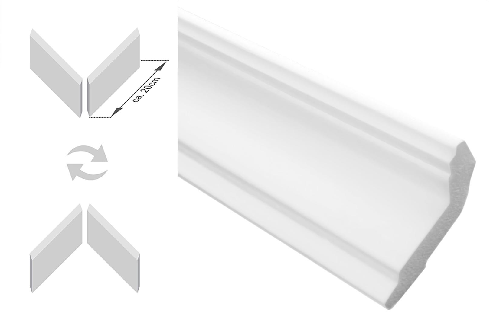 XPS dekorativ 72 x 72 mm leicht und stabil extrudiertes Styropor Stuckprofile 10 Meter Zierleisten Sparpaket E-8 Decken-// und Wand/übergang modern wei/ß
