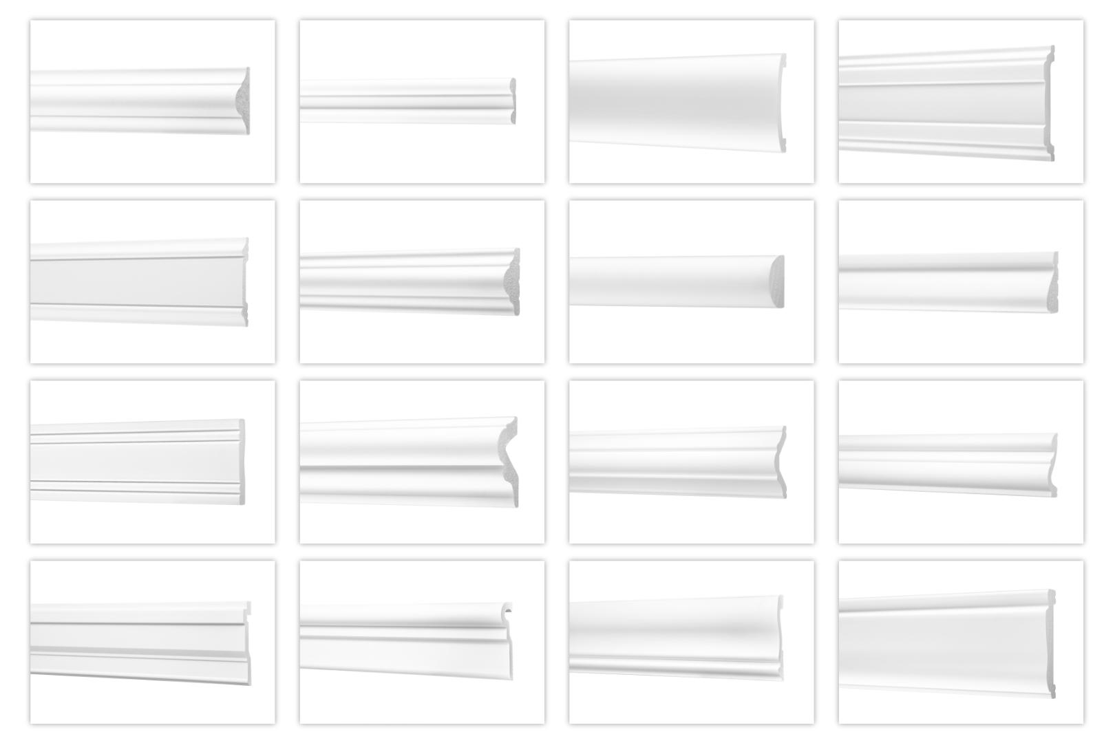 Wandleisten aus Ecopolymer//HXPS Stuckleisten wei/ß Styroporprofile Flachleiste Friesprofil Stuckprofil leicht und schlagfest - CM11-14x40mm