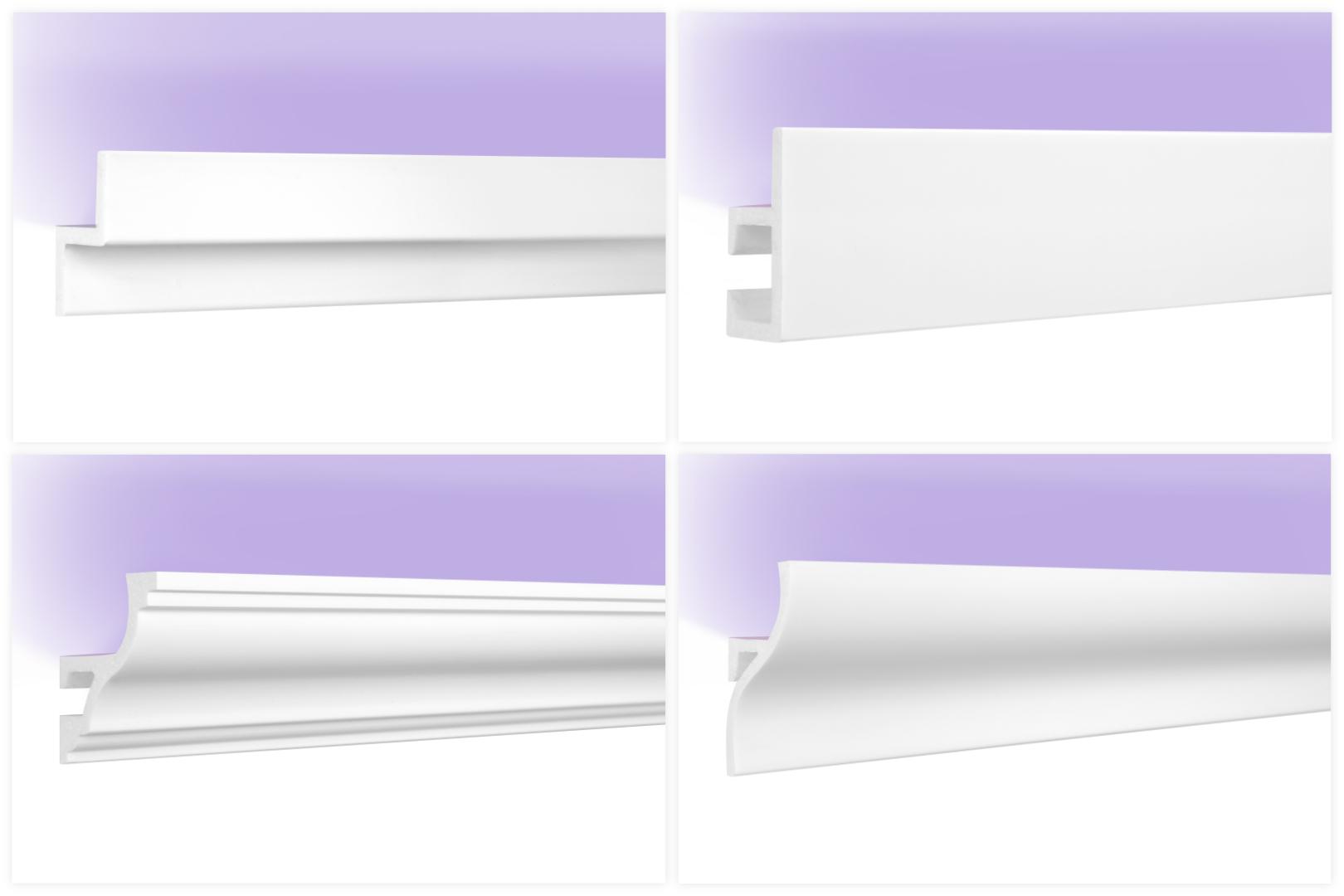 LED Stuckleisten aus HDPS Styropor - extrem widerstandsfähig, schneeweiß & modern
