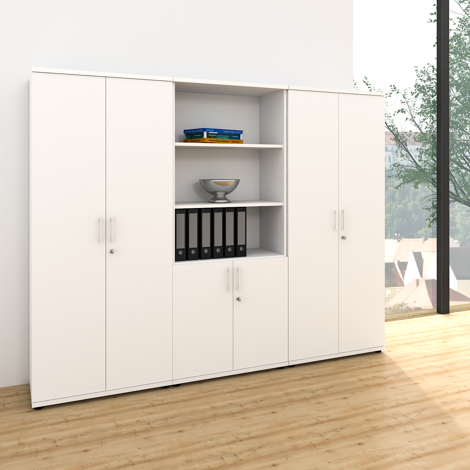 profi schrankwand abschlie bar schrank b roschrank fl gelt renschrank kombischra ebay. Black Bedroom Furniture Sets. Home Design Ideas