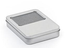 USB-Stick Box aus Metall mit Fenster 115x85x22mm