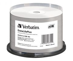 Verbatim 43744 DVD-R Wide White Inkjet Printable No ID Brand
