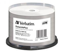 Verbatim 43744 DVD-R Wide White Inkjet Printable No ID Brand
