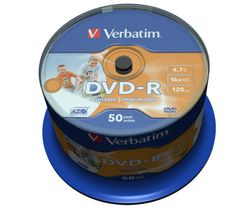 Verbatim 43533 DVD-R Wide White Inkjet Printable No ID Brand
