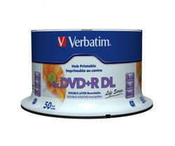 50 Stück Verbatim DVD+R DL Double Layer Inkjet white printable 8,5GB/240MIn./8x ohne ID