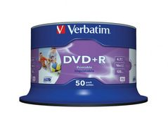 Verbatim 43512 DVD+R Wide White Inkjet Printable No ID Brand