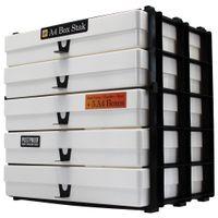 Variocolors A4 Aufbewahrungsregal 345x325x235mm mit 5 bruchfesten milchig weissen Boxen