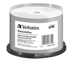 Verbatim 43734 DVD-R Wide Printable Waterproof No ID Brand