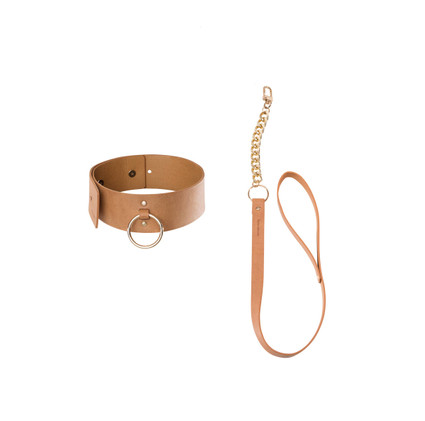 MAZE - Wide Choker with Leath - Brown
