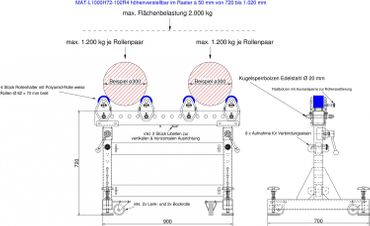 Materialbock höhenverstellbar MAT-L1000H72-102R4 mit 4 Stück seitl. verstellb. Polyamidrollen bis 2.000 kg – Bild 2