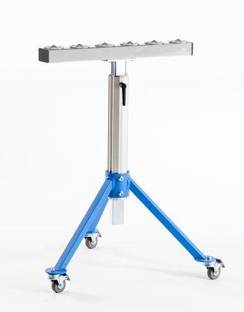 Dreibeinstütze MS 22-L mit Rollenbahn 500 mm inkl. 6 Stück Kugelrollen und Lenkrollen – Bild 1