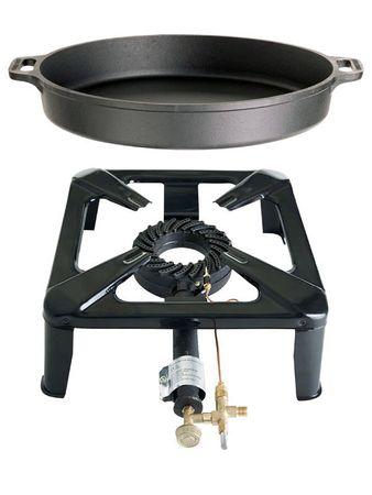 Hockerkocher-SET 1 (groß) -Gusspfanne Ø 40 cm- mit Zündsicherung – Bild 1