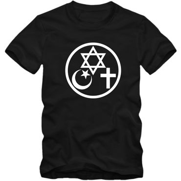 Herren T-Shirt Coexist Religion Judentum Peace Islam Christ 02 – Bild 6