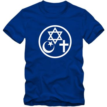 Herren T-Shirt Coexist Religion Judentum Peace Islam Christ 02 – Bild 3