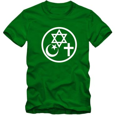 Herren T-Shirt Coexist Religion Judentum Peace Islam Christ 02 – Bild 4