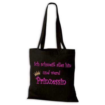 Baumwolltasche Jutebeutel Ich schmeiß alles hin und werd Prinzessin Spaß Fun Stoffbeutel  – Bild 3