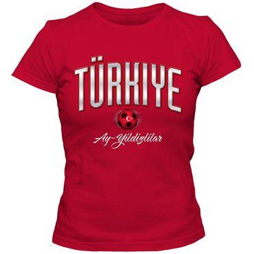 Damen Fußball T-Shirt Türkiye Türkei Turkey Football EM Trikot DTG – Bild 1
